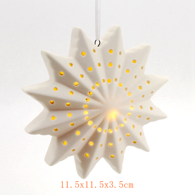 ceramic xmas hanging led ornament