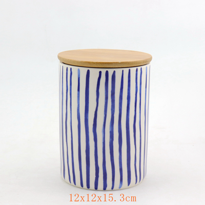 Bamboo Lid Ceramic Jar Blue and White Color