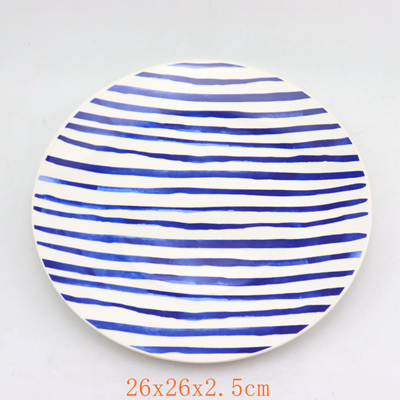 Porcelain Blue Dinner Plate and Tray