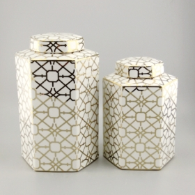 Gold pattern ceramic canister with lid