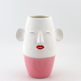 Ceramic Head Face Planter Pink and Gold